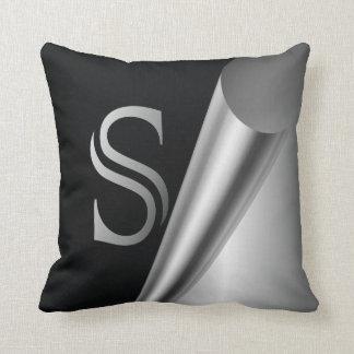 "Steel Peel Monogram ""S"" Throw Pillows"