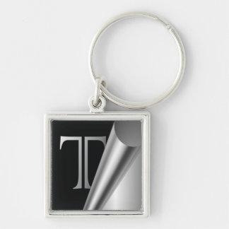 """Steel Peel Monogram """"T"""" Keychain"""