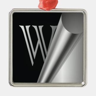 "Steel Peel Monogram ""W"" Metal Ornament"