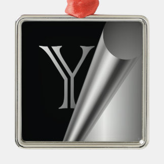 "Steel Peel Monogram ""Y"" Metal Ornament"