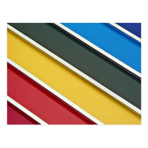 Steel rods on multicolored acrylic post card