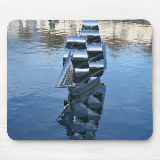 Steel Sculpture of a Sailing Boat Mouse Pad