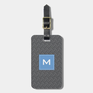 Steel Sheet Metal texture with Blue Monogram Bag Tag