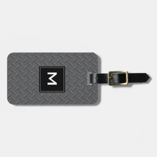 Steel Sheet Metal with Monogram, Black and Gray Luggage Tag
