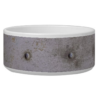 Steel sheet metal with rivets that is dirty dog water bowls