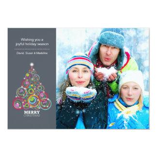 Steel Sparkling Christmas Tree Photo Card