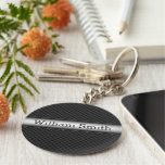 Steel striped carbon fiber basic round button keychain