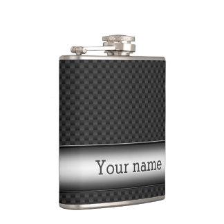 Steel striped carbon fiber flask