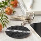 Steel striped carbon fiber keychain