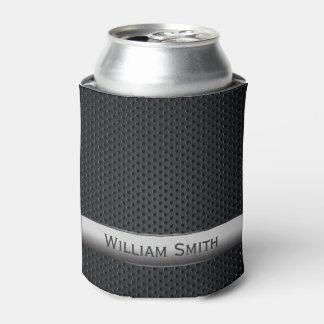 Steel striped dark metal can cooler