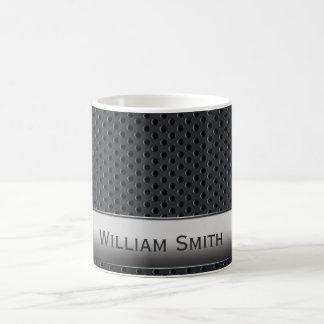 Steel striped dark metal coffee mug