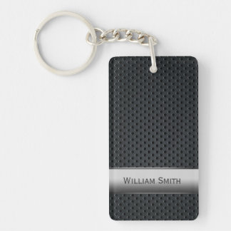 Steel striped dark metal keychain