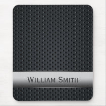 Steel striped dark metal mouse pad