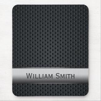 Steel striped dark metal mouse pad