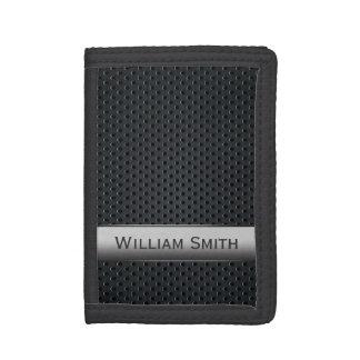 Steel striped dark metal tri-fold wallet