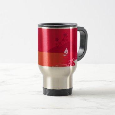 Beach Themed Steel travel mug exotic vintage edition