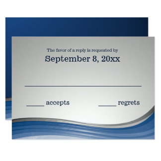 Steel Wave Blue and Silver Response Card
