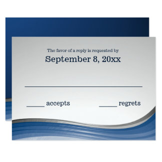 Steel Wave Blue and Silver RSVP Card