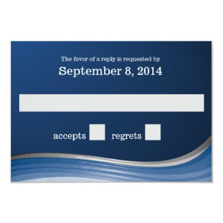 Steel Wave Blue RSVP 3.5x5 Paper Invitation Card