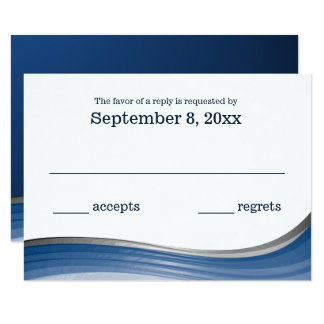 Steel Wave Blue RSVP Card