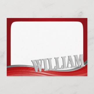 Steel Wave Red with Name William Flat Note