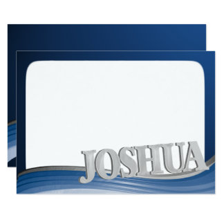 Steel Wave with Name Joshua Flat Note Card