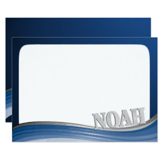 Steel Wave with Name Noah Flat Note Card