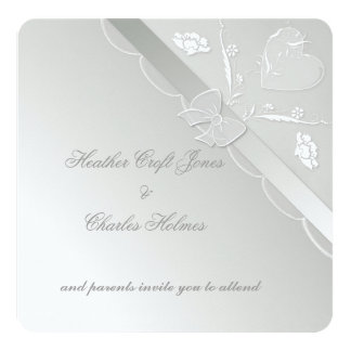 Steel & White Elegant Lace Wedding Invitation Card