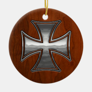 Steel Wood Maltese Ceramic Ornament