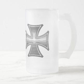 Steel Wood Maltese Frosted Glass Beer Mug