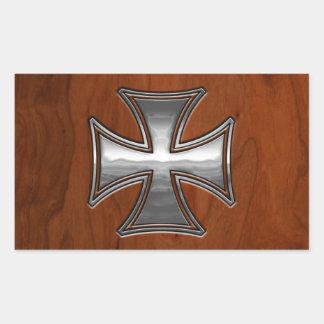 Steel Wood Maltese Rectangle Stickers