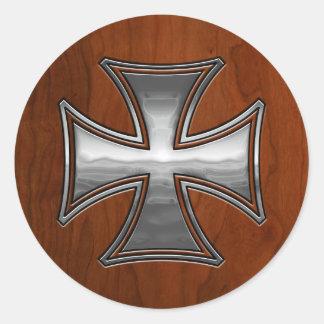 Steel Wood Maltese Round Stickers