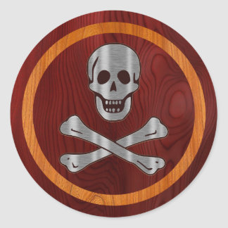 Steel Wood Pirate Round Stickers