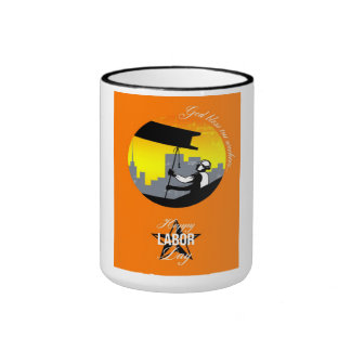 Steel Worker Happy Labor Day Greeting Card Poster Ringer Mug