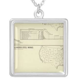 Steel works and forges square pendant necklace