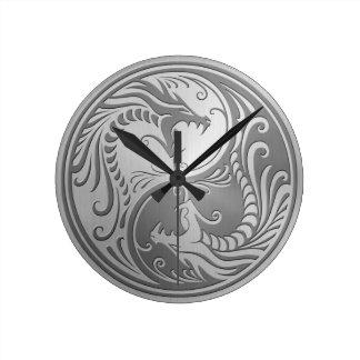 Steel Yin Yang Dragons Round Clock