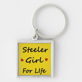 steeler girl life Silver-Colored square keychain