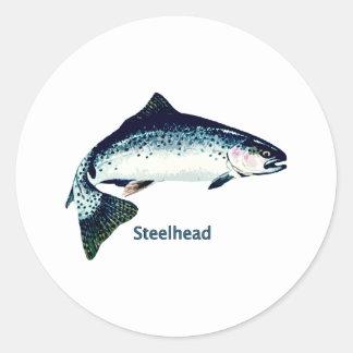 Steelhead Swimming Round Sticker
