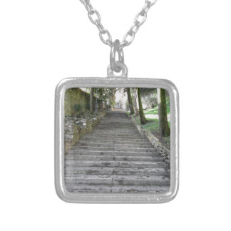 Steep flight of stairs silver plated necklace