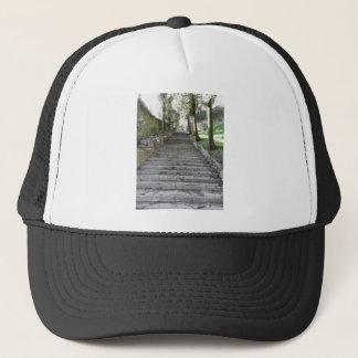 Steep flight of stairs trucker hat