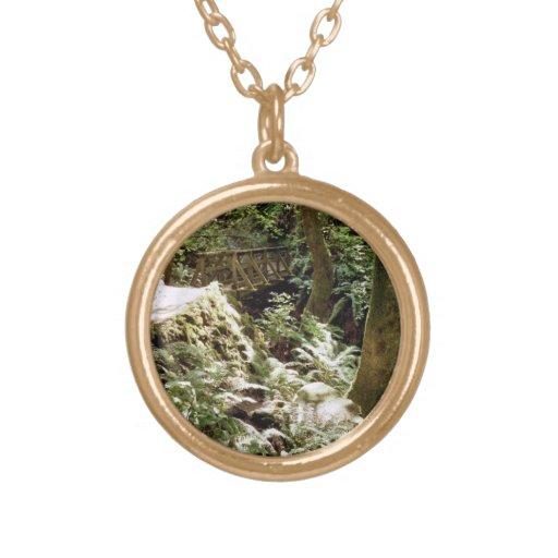 Steep Ravine trail Round Pendant Necklace