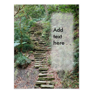 Steep Uphill Forest Path with Rocky Steps Poster