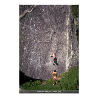 Steep wall climb, Val Dimelo, Italy Poster