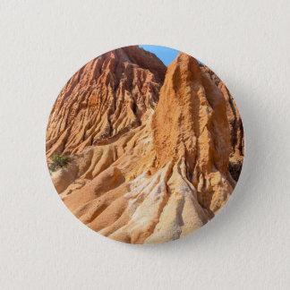 Steep weathered slopes of orange mountains.JPG Pinback Button
