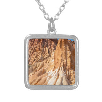 Steep weathered slopes of orange mountains.JPG Silver Plated Necklace