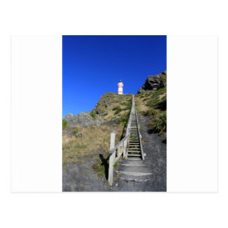 Steep wooden staircase Cape Palliser lighthouse Postcard