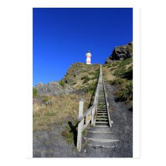 Steep wooden staircase Cape Palliser lighthouse Postcard