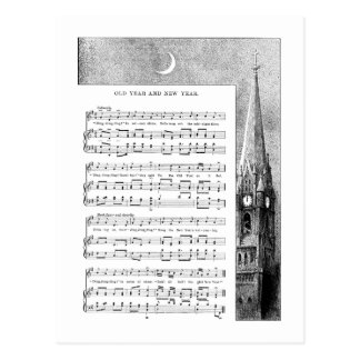 Steeple and Moon New Year Song Postcards