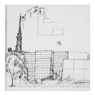 Steeple Drawing Poster