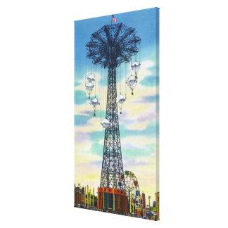 Steeplechase Park Parachute Jump Daytime Scene Canvas Print